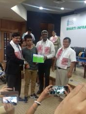 Ruokuowetuo Riipreo (low vision) received scholarship award from Bharti Infratel at Guwahati, 2017